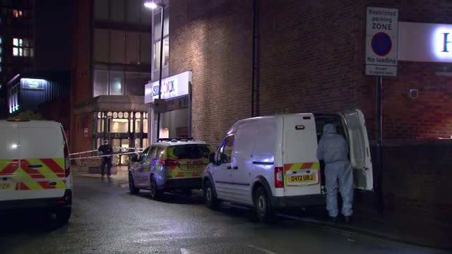 murder investigation launched after triple stabbing in harrow; - england: london: harrow: ext / night crime scene on street with cordons and police... - crime and murder stock videos & royalty-free footage