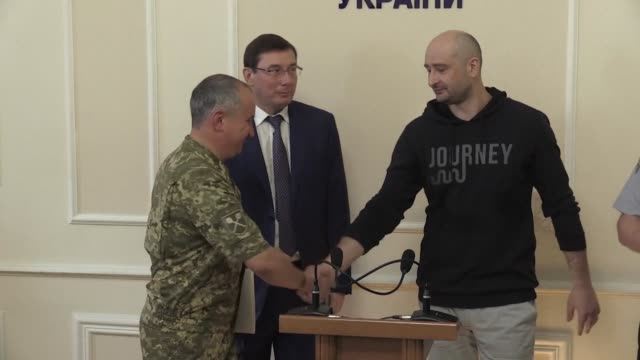 Murdered anti Kremlin journalist Arkady Babchenko appears alive and well at a press conference in Kiev as Ukraine admits it has faked his death to...