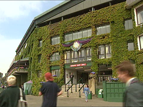 murphy jensen missing:; england: wimbledon: ext cms newspaper stand advertising board with headline on missing tennis star tilt up entrance as queue... - itv news at one stock videos & royalty-free footage