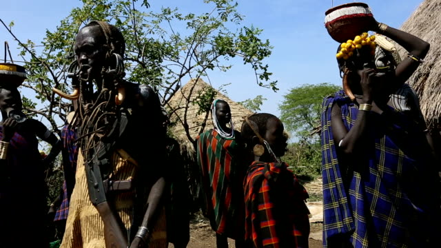 mursi tribe - earring stock videos and b-roll footage