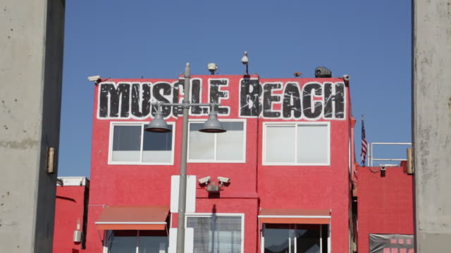 vídeos de stock e filmes b-roll de muscle beach sign - body building