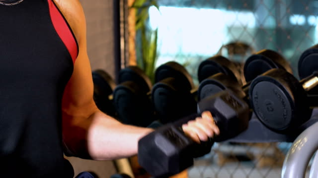 muscle man lifting dumbbell in gym - weight training stock videos & royalty-free footage