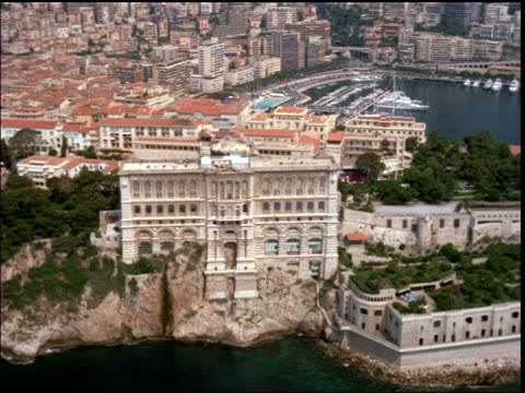 AERIAL Musee Oceanographique, harbor + palace / Monaco, Provence, France (Riviera)