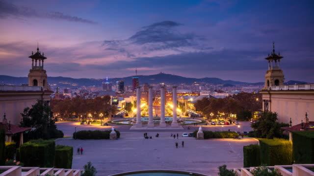 Museu Nacional d'Art de Catalunya, Barcelona - Dusk to Night Timelapse