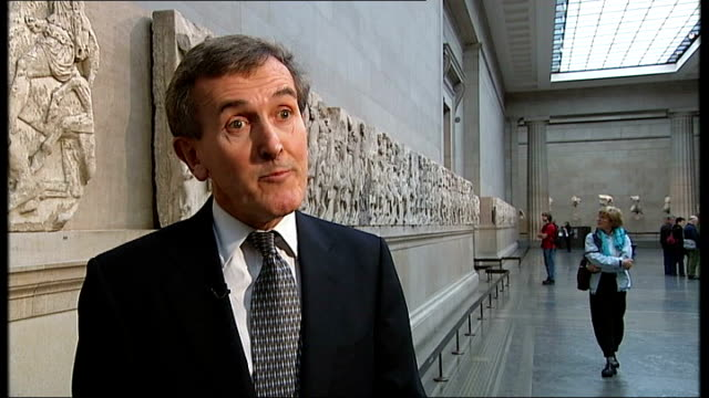 museum built to house elgin marbles; england: london: british museum: neil macgregor interview sot fragment of elgin marbles on display - british museum stock videos & royalty-free footage
