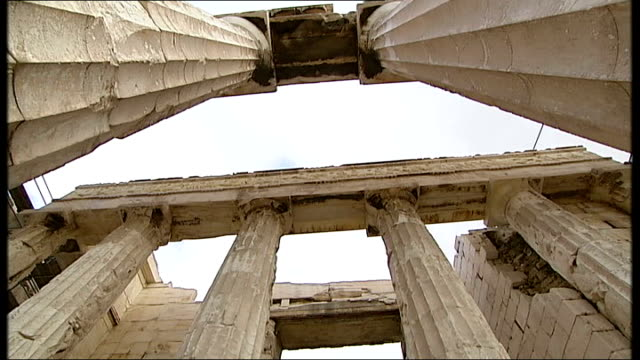 museum built to house elgin marbles greece athens ext general views of parthenon and reporter walking around columns reporter to camera copies of... - parthenon athens stock videos & royalty-free footage