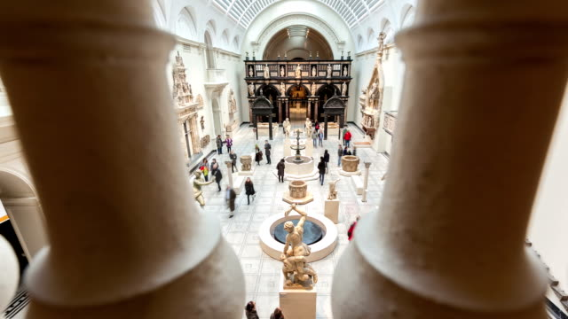 V&A museum Gallery Timelapse looking through Pillars in Balcony