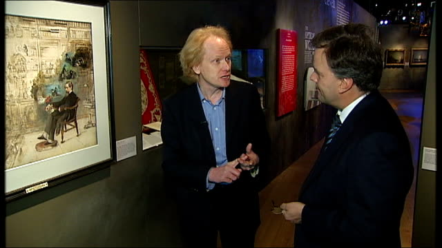 vídeos de stock e filmes b-roll de museum of london holds charles dickens exhibition to celebrate 200th anniversary of his birth alex werner interview sot cutaways close up of charles... - charles dickens