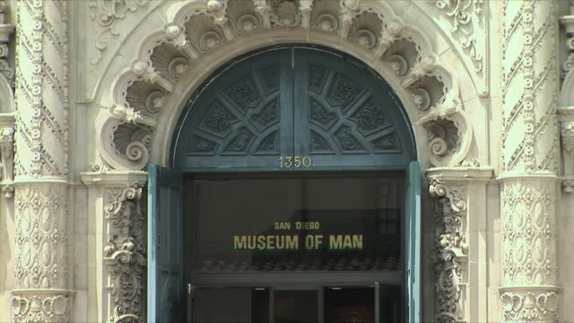 cu zo ms museum of man entrance, balboa park, san diego, california, usa - san diego stock videos & royalty-free footage