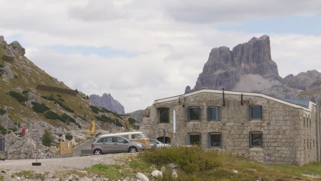 pan museum of the tre sassi fort on valparola pass in the dolomites mountains - motion controlled shot. - war stock-videos und b-roll-filmmaterial