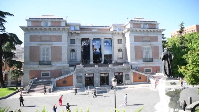 museum president javier solana, minister of culture and sport jose manuel rodriguez and the first visitor stand outside before entry as the prado... - five people stock videos & royalty-free footage