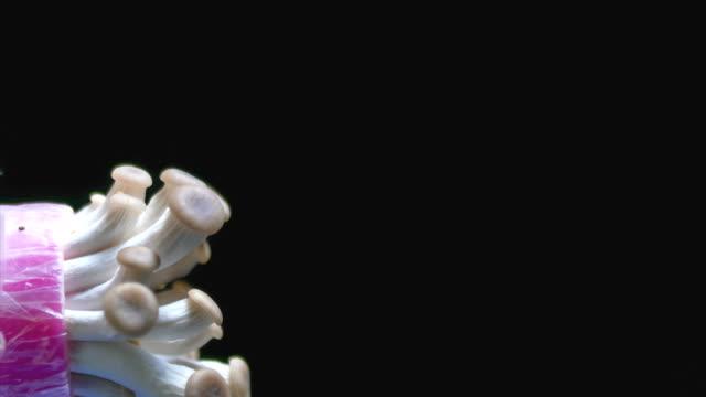 mushroom growing black background time lapse dci 4k - mushroom stock videos & royalty-free footage