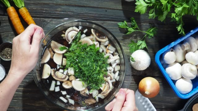mushroom soup cooking - cutting board stock videos and b-roll footage