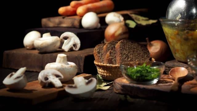 mushroom soup - ingredient stock videos & royalty-free footage