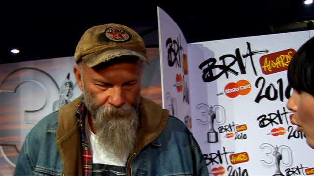 2010 Brit Awards red carpet arrivals Seasick Steve speaking to press / Seasick Steve interview SOT On being nominated / who he wants to see perform /...