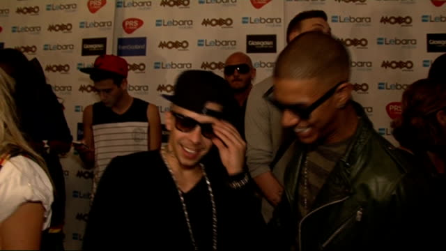 2011 mobo awards nominations celebrity interviews dino 'dappy' contostavlos and richard 'fazer' rawson interview sot on being at the mobos / on what... - moderne rockmusik stock-videos und b-roll-filmmaterial