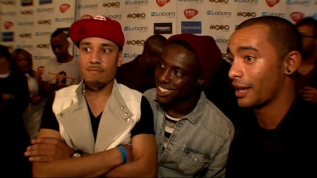 2011 mobo awards nominations celebrity interviews encore interview sot on being at the mobos / how it feels to be nominated / who they are supporting... - the black eyed peas band stock videos and b-roll footage