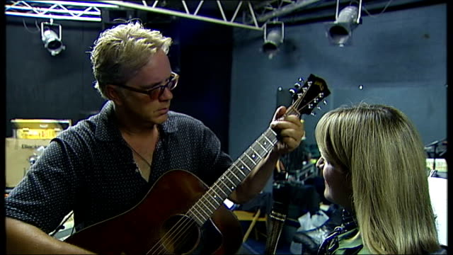 Actor Tim Robbins to tour with folk band Robbins showing West his guitar SOT I've never taken this from home until now