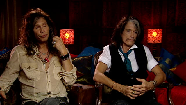 'aerosmith' interview tyler interview sot on missing american idol miss sitting next to jlo would go back to do mentoring thing / it was a fabulous... - american idol stock videos and b-roll footage