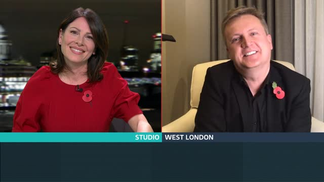 aled jones collaborates with d-day veteran harry billinge; england: london: gir: int aled jones live 2-way interview from west london sot - itv london tonight stock-videos und b-roll-filmmaterial