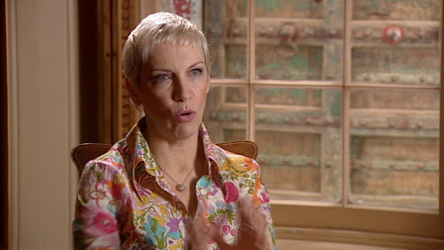 annie lennox releases greatest hits album lennox interview sot - アルバムのタイトル点の映像素材/bロール