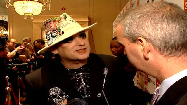 red carpet arrivals boy george interview sot think people in this country have forgotten i am a singer / maybe i played a part in that / would like... - music stand stock videos & royalty-free footage