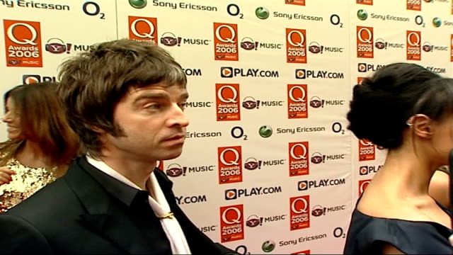 Red carpet arrivals Sugababes posing for press as away / Noel Gallagher interview SOT Heavyweights come out for this like me and Bono / Sorts the men...