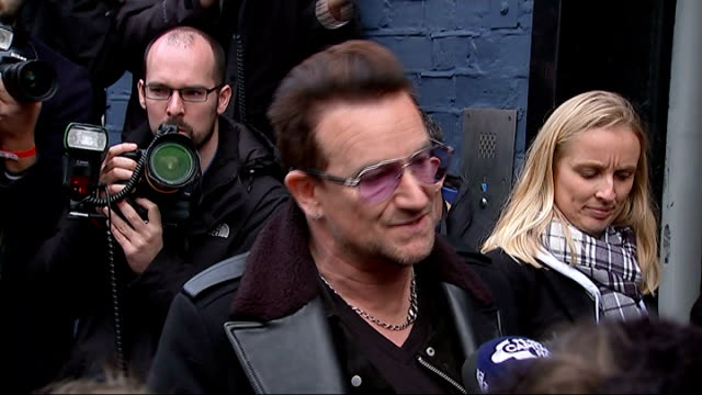 Band Aid remake Do They Know it's Christmas in aid of Ebola victims West London Bayswater PHOTOGRAPHY*** Bono interview SOT wish we didn't have to do...