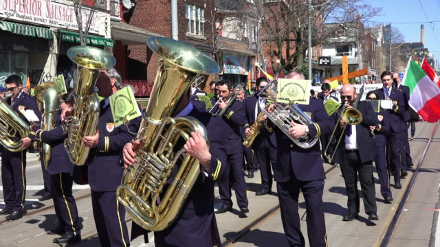 music band playing and leading the christian procession during holy week - holy week stock videos & royalty-free footage
