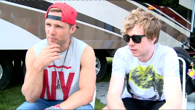 Barclaycard British Summer Time Ball Interviews EXT Harry Judd and James Bourne interview SOT Bourne chatting / Judd meeting fans / long shot...