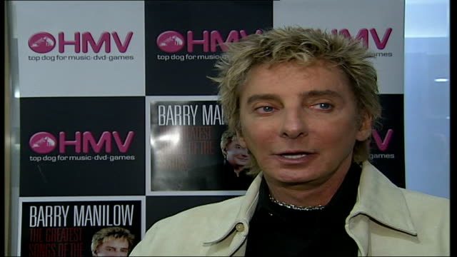 barry manilow album signing at hmv oxford street; england: london: hmv oxford street: int barry manilow interview sot - i put down a list of about... - barry manilow stock videos & royalty-free footage