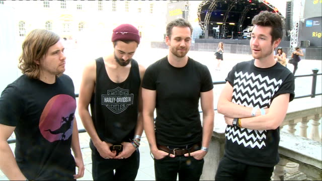 Bastille interview ENGLAND London Somerset House EXT Bastille interview SOT on how far they have come / on hearing people singing their songs / on...