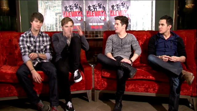 'big time rush' interview; big time rush interview sot - on outrageous dates / how similar they are to their characters on their nickelodeon show /... - nickelodeon stock videos & royalty-free footage