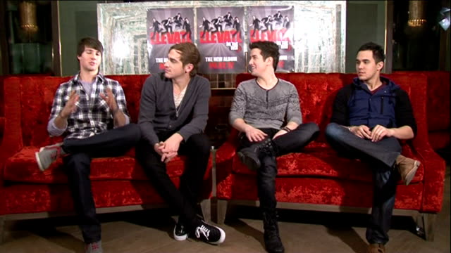 'big time rush' interview england london int big time rush interview sot on their favourite song / introduce themselves / their upcoming tour /... - kendall schmidt stock videos & royalty-free footage