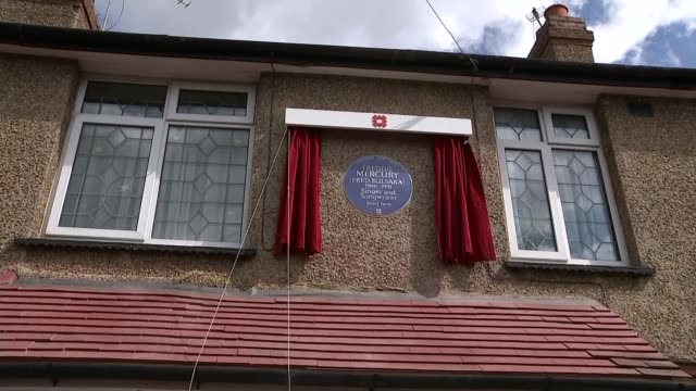 Blue plaque unveiled at Freddie Mercury's childhood home UP as plaque unveiled by Kashmira Cooke Brian May with Kashmira Cooke Child sings Queen song...