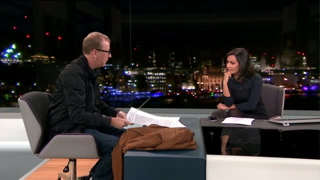 blur's drummer dave rowntree holds auction to raise money for syrian refugees england london gir int dave rowntree live interview sot [including... - シリア難民問題点の映像素材/bロール