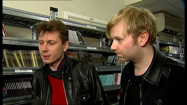 Bob Hardy and Alex Kapranos interview / Franz Ferdinand perform ENGLAND London INT Bob Hardy and Alex Kapranos interview in stock room SOT On why...