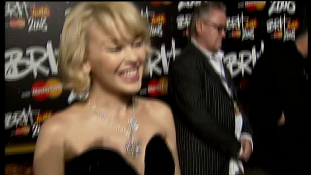 brit awards 2008; england: london: earls court exhibition centre: ext kylie minogue interview sot - on her performance at the brits / looking forward... - kylie minogue the exhibition stock videos & royalty-free footage