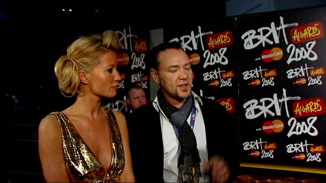 brit awards 2008: red carpet interviews; denise van outen and brit awards producer interview sot - producer stock videos & royalty-free footage