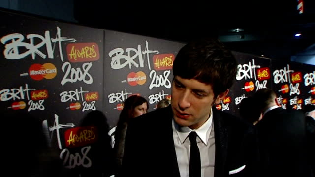 Brit Awards 2008 red carpet interviews Mark Ronson interview SOT great to work with Amy Winehouse
