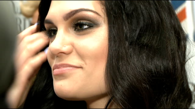 Brit Awards 2012 nominations announced celebrity interviews Jessie J speaking to press / makeup artist applying makeup to Emeli Sande Jessie J...