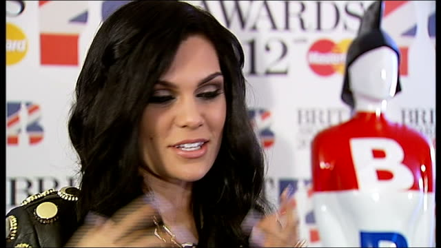 Brit Awards 2012 nominations announced ENGLAND London Savoy Hotel INT Jessie J interviewed with reporter in shot SOT On receiving three BRIT...