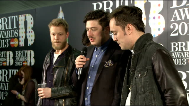 Brit Awards 2013 Winners' room interviews Mumford Sons backstage press conference / interview SOT Emeli Sande backstage press conference / interview...