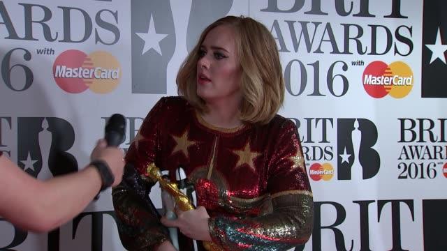 Brit Awards 2016 winners' room ***FLASH Winner Global Success Award and Best Single Adele interview SOT