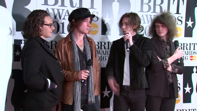 brit awards 2016 winners' room winners of best british breakthrough act catfish and the bottlemen interview sot - ブリット・アワード点の映像素材/bロール