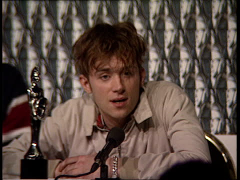 British group 'Blur' swept the board at the Brit awards ENGLAND London Alexandra Palace INT CMS Damon Albarn speaking at press conference SOT This...