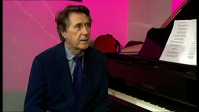 vídeos de stock, filmes e b-roll de bryan ferry on his new jazz album ** music heard over following shots ** ferry interview sot will incorporate some singing into the live show - título de álbum
