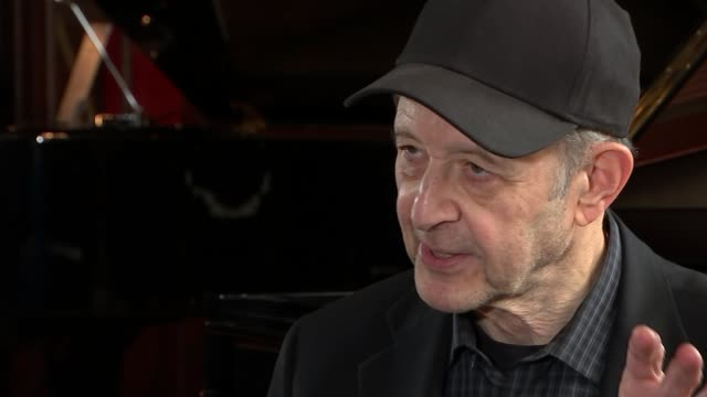 Celebrations to mark 80th birthday of composer Steve Reich ENGLAND London Yamaha Piano Hall Reporter sitting with composer Steve Reich Steve Reich...