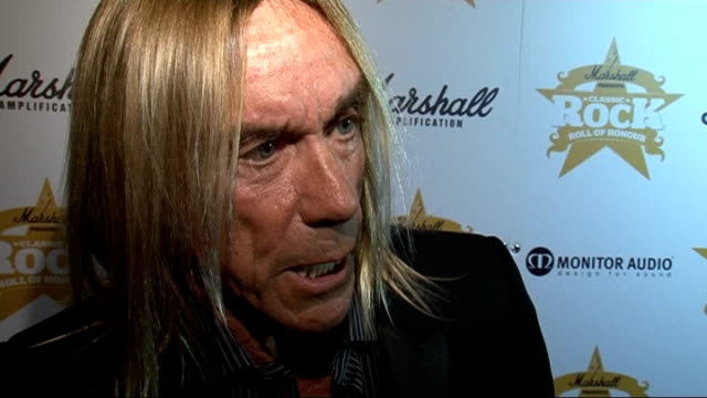 'classic rock roll of honour 2009' awards iggy pop interview sot started out as man you love to hate / grandad of punk is a little more tame / when i... - tame stock videos and b-roll footage