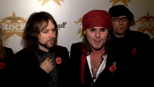 'Classic Rock Roll of Honour 2009' Awards Spike and other members of The Quireboys speaking to reporters Spike interview SOT Ronnie Wood posing for...